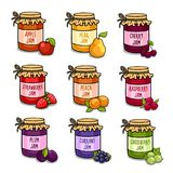 Set of colored jars with delicious homemade jam. Vector illustration stock illustration