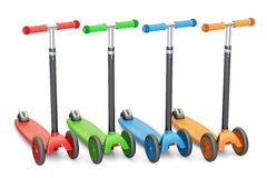Set of colored kick scooters, 3D rendering Stock Image
