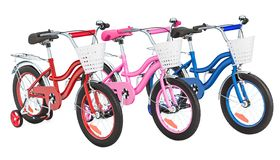 Set of colored kids bicycles with training wheels and baskets. 3D rendering royalty free illustration