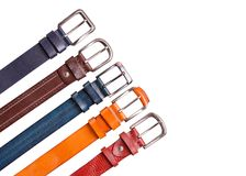 Set of colored leather belts royalty free stock image