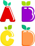 A set of colored letters fruit.  Stock Image