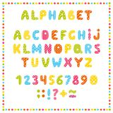Set of colored letters and numbers. Childrens alphabet. Font for kids. Bright colors, pink, blue, green, yellow on white backgroun. D vector illustration