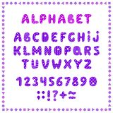 Set of colored letters and numbers. Childrens alphabet. Font for kids. Bright colors, pink and purple on white background. vector illustration