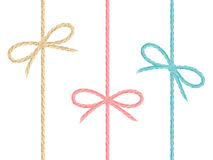 Set of colored linen string bows Stock Image