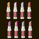 Set colored lipsticks. Royalty Free Stock Photos
