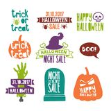 Set of colored logos of happy Halloween. Icons for the holiday decor of horror and fear with a skull, pumpkin, grave and. Zombies. Vector Stock Photography