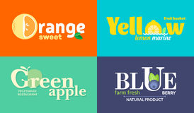 Set of colored logos on the theme of fruits and vegetables. For vegetable shops, vegetarian restaurants and cafes Stock Image