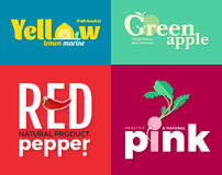 Set of colored logos on the theme of fruits and vegetables. For vegetable shops, vegetarian restaurants and cafes. Delivery of fruit and vegetable farms Royalty Free Stock Photo