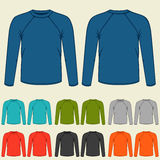 Set of colored long sleeve shirts templates for men Stock Images