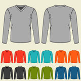 Set of colored long sleeve shirts templates for men Royalty Free Stock Photos