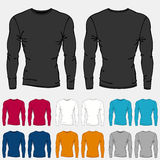 Set of colored long sleeve shirts templates for men Royalty Free Stock Photography