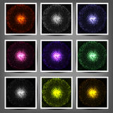 Set of colored luminous halftone banners. Royalty Free Stock Photography