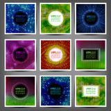 Set of colored luminous halftone banners. Stock Photos