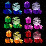 Set of colored magic boxes for all occasions Stock Image