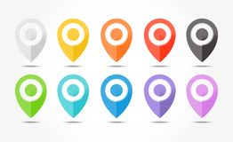 Set of 10 colored map pin icons with shadows. Set of 10 colored map pin icons with shadows Royalty Free Stock Photography