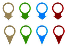 Set of colored map pointer Royalty Free Stock Photos