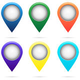 Set of colored map pointers Royalty Free Stock Photo