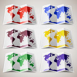 Set of colored Maps of the World Royalty Free Stock Photos