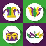 Set colored mardi gras hat drum mask and feathers image stock photography