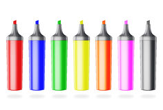 Set of colored markers without caps. Set of colored markers without caps isolated on white background. Markers front view Royalty Free Stock Images