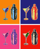 Set of Colored Martini Cocktails with Olives Shaker Vector Illustration stock illustration