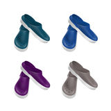 Set of Colored Medical Footwear Clogs Isolated Stock Image