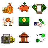 Set of colored modern icons for business and banking. Vector Stock Photos