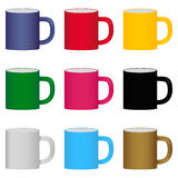 Set of colored mugs Royalty Free Stock Images