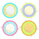 Set of colored of natal astrological charts. vector illustration Stock Photo