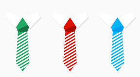 Set of colored necktie green blue and red Stock Photography