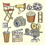 Set of colored objects on the theme of cinema Royalty Free Stock Photos