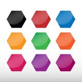 Set of colored octagon icon pack. Geometry octagonal colorful eight sided polygon octagon line. Vector illustration. Isolated on. White background stock illustration