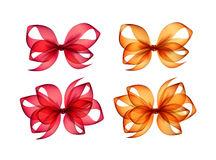 Set of Colored Orange Red Gift Bows  on Background Stock Image