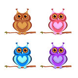 Set of colored owls Royalty Free Stock Photography