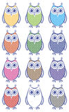 Set of colored owls Royalty Free Stock Photo