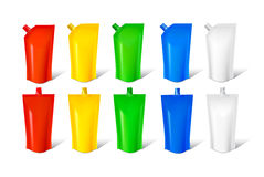 Set of colored packaging Stock Photos