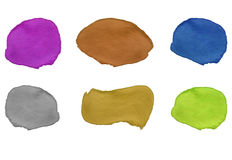 Set of colored paint strokes. VECTOR templates. Violet, dark orange, blue, silver, golden, yellow-green paint. Stock Image