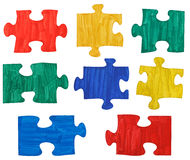 Set of colored painted puzzle pieces Royalty Free Stock Image