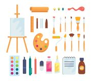 Set of colored painting tools vector icons in cartoon style. Supplies, art brushes and easel. Artist or school. Creativity elements collection vector illustration