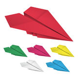 Set of colored paper airplanes Stock Image