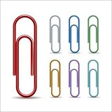 Set of colored paper clips Stock Images