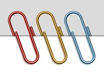 Set of colored paper clips Stock Image
