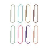 Set of colored paper clips on white Royalty Free Stock Photography