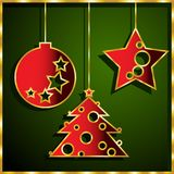 Set paper figures for Christmas and new year. A set of colored paper figures for Christmas and new year :: ball, a star, spruce Royalty Free Stock Photography