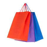 Set of colored paper shopping bags. Set of 3 colored paper shopping bags Royalty Free Stock Photo