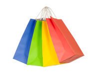 Set of colored paper shopping bags. Set of 4 colored paper shopping bags Royalty Free Stock Photos