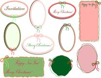A set of colored pastel oval frames stitched with thread and a bow stock photo