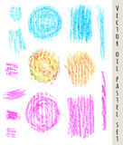 Set of colored pastel  spots and brush strokes. Hand drawn design elements. Grunge vector illustration. Pastel crayons and pencil Royalty Free Stock Images