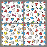 Set colored patterns in the style hand drawing Royalty Free Stock Images