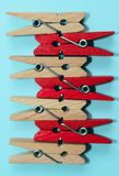 Studio Shot of a Wooden Peg.Colored Clothespegs. Stock Photos